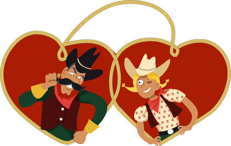 Cute cartoon cowboy and cowgirl flirting, heart shaped lasso on the background, EPS 8 vector illustration Illustration