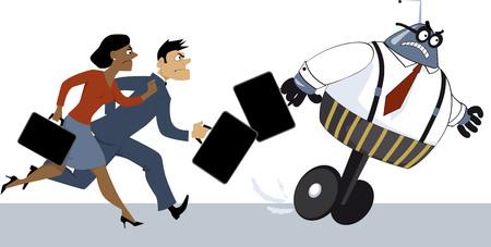 Business people compete with a robot and lose, EPS 8 vector illustration Ilustração
