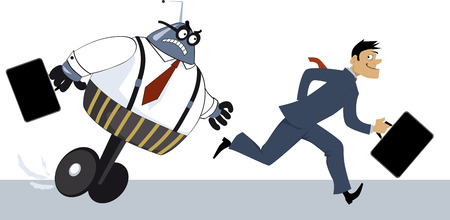 Businessman winning a race against a robot as a metaphor for competition with AI, EPS 8 vector illustration Illustration
