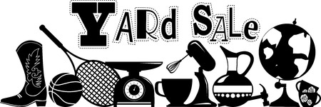 household objects: Yard sale vector silhouette banner with assorted household and sport items, EPS 8, no white objects