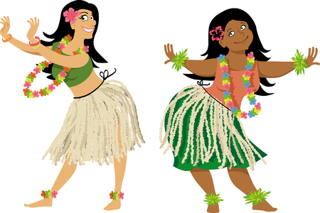 Hula dance teacher and student characters, wearing grass skirts and lei, EPS 8 vector illustration, no transparencies