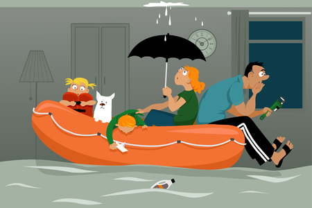 Family sitting in an inflatable boat in a flooded living room of their house, ceiling is leaking, EPS 8 vector illustration