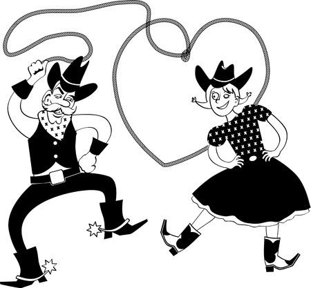 Funny vaquero de dibujos animados y cowgirl bailando con un lazo en forma de corazón, EPS 8 negro línea de arte vectorial, ningún objeto blanco Foto de archivo - 69923219