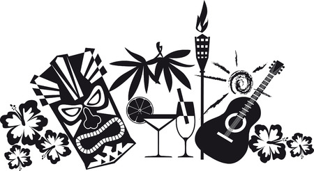 Banner for luau party with Hawaiian theme objects, EPS 8 vector silhouette, no white objects