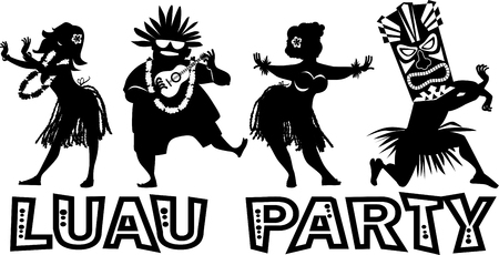 Banner for luau party with people dressed in traditional costumes, EPS 8 vector silhouette, no white objects Vektorové ilustrace