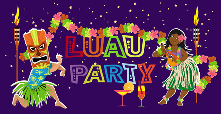 Luau party poster design with performers dancing and playing ukulele, EPS 8 vector illustration