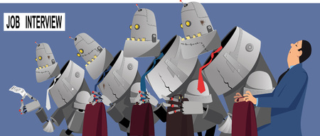 Concerned man sitting in line to a job interview with robots candidates replacing humans, EPS 8 vector illustration