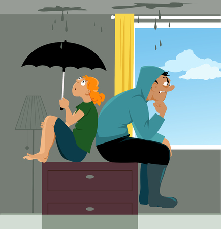 Couple sitting on a dresser in a flooded living room of their house, ceiling is leaking, EPS 8 vector illustration