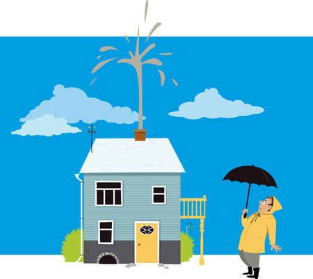 Homeowner looking at a fountain of sewage or water coming from a chimney of his house, EPS 8 vector illustration Illustration