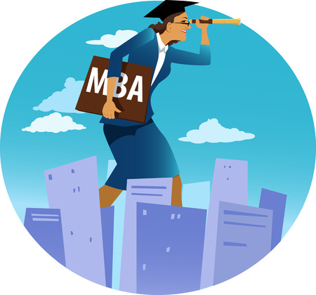 Female MBA graduate walking forward and looking ahead through a telescope, EPS 8 vector illustration