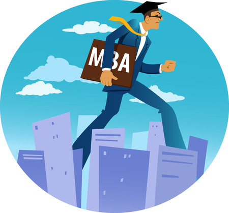 master degree: Giant businessman in an academic cap and with a MBA diploma walking through a city downtown, EPS 8 vector illustration