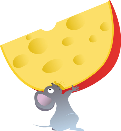 Cartoon mouse holding a big piece of cheese, EPS 8 vector illustration