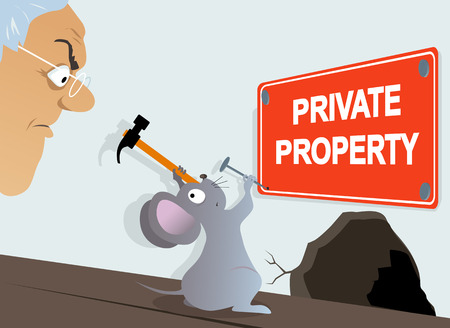 Mouse attaching a Private Property sign in front of an annoyed homeowner, EPS 8 vector illustration
