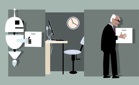 Robot replacing a senior employee, EPS 8 vector illustration Ilustrace