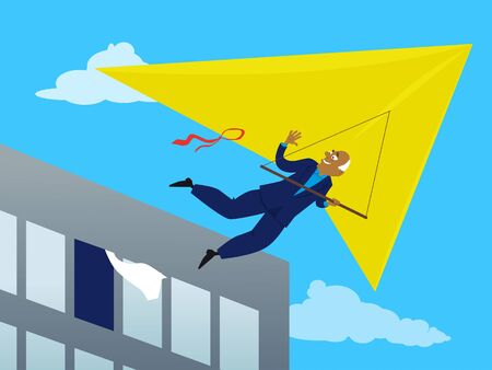 metaphor: Baby boomer businessman retiring and flying away on a deltaplane out of the office window, EPS 8 vector illustration