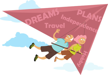 deltaplane: Baby boomers retiring. Middle age couple flying on a deltaplane, EPS 8 vector illustration