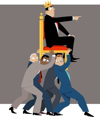 eam of businessmen carrying a throne with a leader in a crown pointing forward,  vector illustration