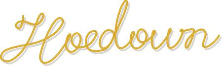 Word Hoedown escrito con un cepillo de túnica, ilustración vectorial, cepillo incluido Foto de archivo - 72544923