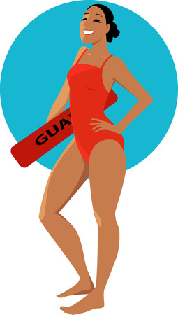 Young woman in a red swimsuit holding a swimming board with a word Lifeguard on it,  vector illustration