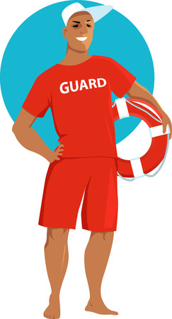 Young man in a red lifeguard swimsuit holding a ring buoy,  vector illustration
