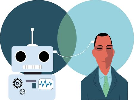 contemplate: A person connected with a robot with a wire, exchanging information,  vector illustration