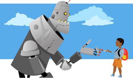 Little boy shaking hands with a giant robot, vector illustration Ilustração