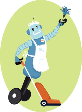 Robot maid doing house cleaning, EPS 8 vector illustration