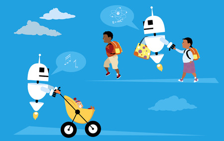 Robot nannies walking children to school and taking care of baby, EPS 8 vector illustration