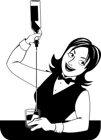 Young woman bartending, pouring a drink, EPS 8 vector line illustration, no white objects, black only