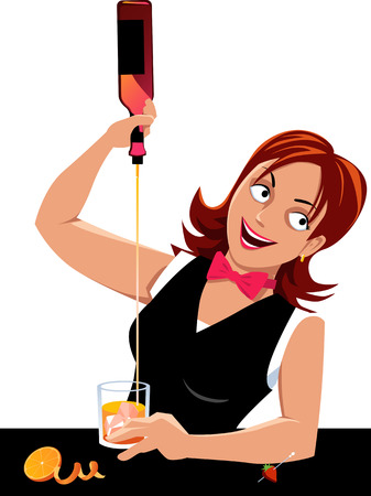 barmaid: Young woman bartending, pouring a drink, EPS 8 vector illustration, no transparencies Illustration