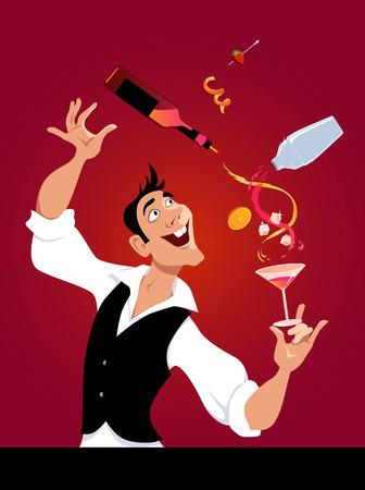 Mixologist demonstrates flair bartending making a cocktail, EPS 8 vector illustration, no transparencies Illustration