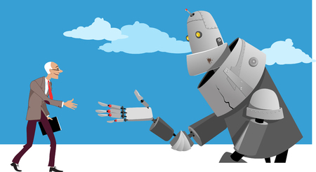 Senior man shaking hands with a giant robot, EPS 8 vector illustration