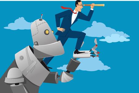 Reuze robot die een zakenman met een telescoop houdt, die hem helpt vooruit, EPS 8 vectorillustratie te kijken Stock Illustratie