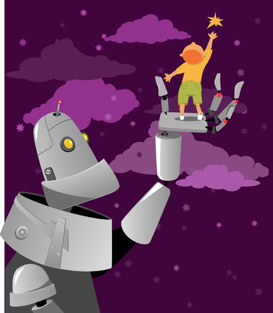 Giant robot helping a little boy reach to the star, EPS 8 vector illustration, no transparencies, no mesh Illustration