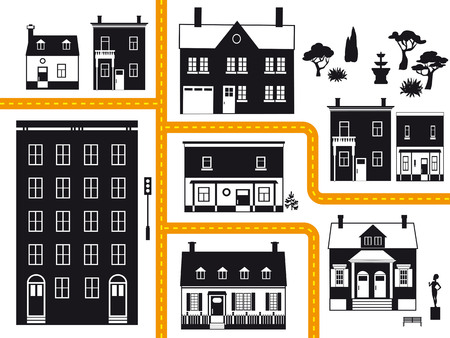 City neighborhood with different types of real estate, vector illustration, black, orange and yellow only, no white objects Ilustração