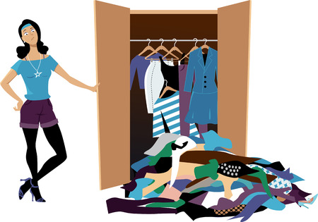 Dissapointed woman looking at her wardrobe, pile of clothes falling out of it, EPS 8 vector illustration