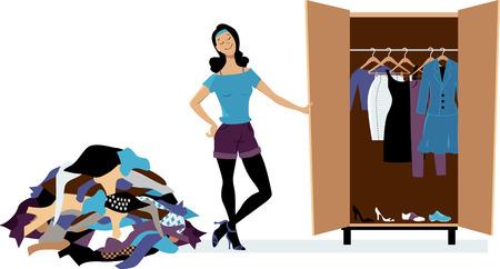 Kobieta, tworząc minimalistyczną garderobę, czyszcząc niepotrzebne ubrania, EPS 8 ilustracji wektorowych Ilustracje wektorowe
