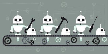 Robots building robots on a production line, EPS 8 vector illustration