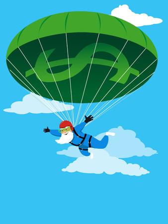 Happy senior skydiving using a financial parachute, EPS 8 vector illustration