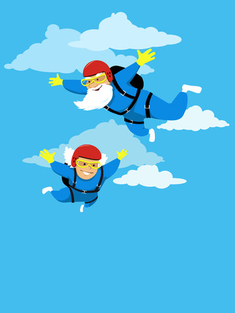 Happy active senior couple skydiving, EPS 8 vector illustration