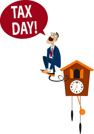 reminding: Accountant jumping from a cuckoo clock, reminding about tax day, EPS 8 vector illustration