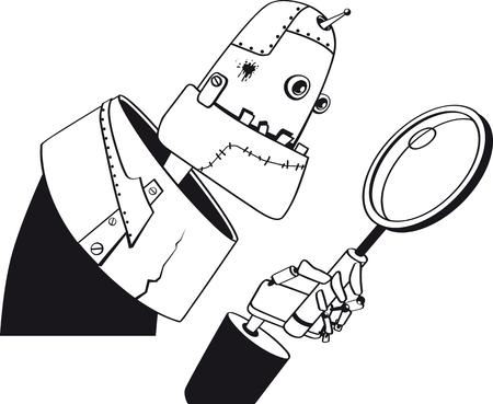 黒のみ、虫眼鏡、EPS 8 ベクトル線画、白いオブジェクトがない、探している巨大なロボット  イラスト・ベクター素材
