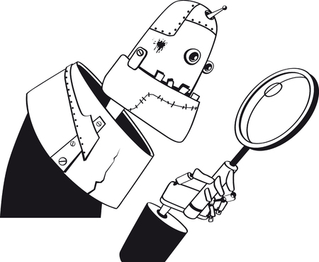 Giant robot looking in a magnifying glass, EPS 8 vector line art, no white objects, black only 向量圖像