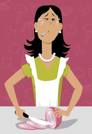Donna, taglio, cipolle, pianto, illustrazione vettoriale EPS 8 Vettoriali