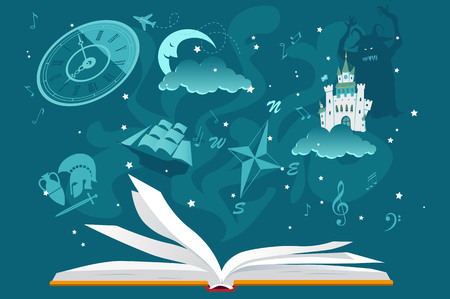 Open book with imaginary fantastic images hovering over it, EPS 8 vector illustration, no transparencies Иллюстрация