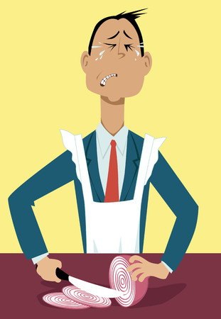 business decisions: Businessman in an apron chopping onions and crying, metaphor for a tough business decisions, EPS 8 vector illustration
