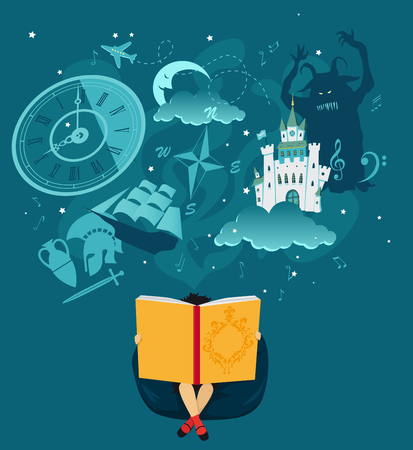 Girl reading a giant book, fantasy romantic images hovering over her head, EPS 8 vector illustration, no transparencies Иллюстрация