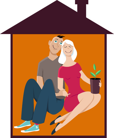 Young happy couple in a little house, first time homeowners, EPS 8 vector illustration 向量圖像