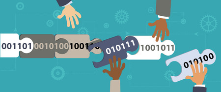 Human hands connecting blocks of data in a blockchain, EPS 8 vector illustration