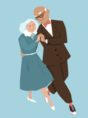 Elderly couple dancing, EPS 8 vector illustration